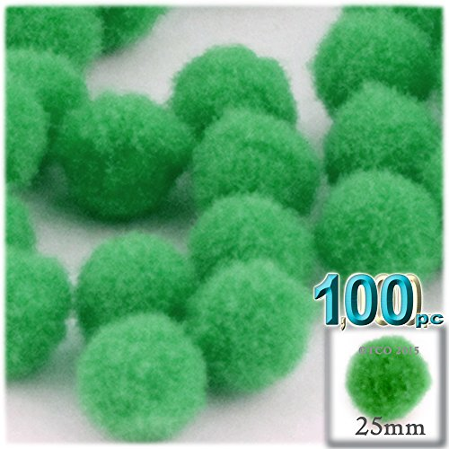The Crafts Outlet 100-Piece Multi Purpose Pom Poms, Acrylic, 25mm/About 1.0-inch, Round, Light Green