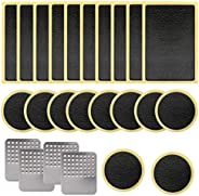SAVITA 24 Pcs Bike Tire Patch Repair Kit, Bicycle Motorcycle Tire Glueless Self-Adhesive Patches with Metal Ra