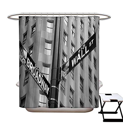 - haommhome New York Polyester Fabric Shower Curtain Liner Street Signs of Intersection of Wall Street and Broadway Finance Destinations Shower Hooks are Included Black and White84×72