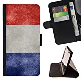 Graphic4You Vintage French Flag of France Design Thin Wallet Card Holder Leather Case Cover for Huawei Y5