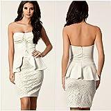 YLSZ-Temperament princess skirt, Europe and America waist, lotus leaf, lace, temperament, princess dress, dress,white,M