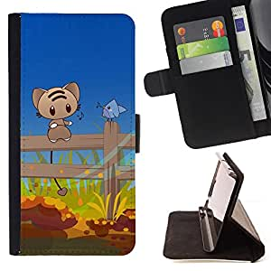 BullDog Case - FOR/Samsung Galaxy Note 3 III / - / Cute Cat & Bird Friends /- Monedero de cuero de la PU Llevar cubierta de la caja con el ID Credit Card Slots Flip funda de cuer