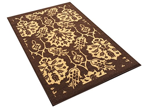 3-feet X 5-feet Non-Skid Rubber Backed Area Rug | BROWN - IVORY FLORAL Modern Rectangle Rugs 3X5 by Qute Home (Image #3)