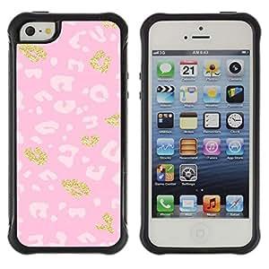 Suave TPU GEL Carcasa Funda Silicona Blando Estuche Caso de protección (para) Apple Iphone 5 / 5S / CECELL Phone case / / Pattern Pink Gold Fur White /
