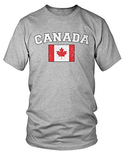 Amdesco Men's Canadian Flag, Flag of Canada, Canada Flag T-Shirt, Heather Gray 2XL