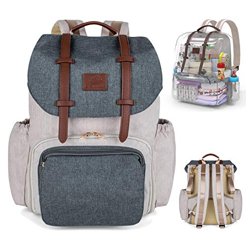 Deluxe Diaper Backpack by Little Grey Rabbit - Specializing in Clutter-Free Design with Interior Divider for Easy Organization, Insulated Pockets, Stroller Straps, Changing pad and First aid ()