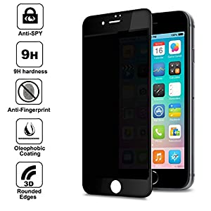 """for Apple iPhone 7 4.7"""" Screen Protector Privacy Anti-Spy , Anti Spy 9H Tempered Glass, 3D Rounded Edge Full Cover Screen Protector (Black) from Shangda"""