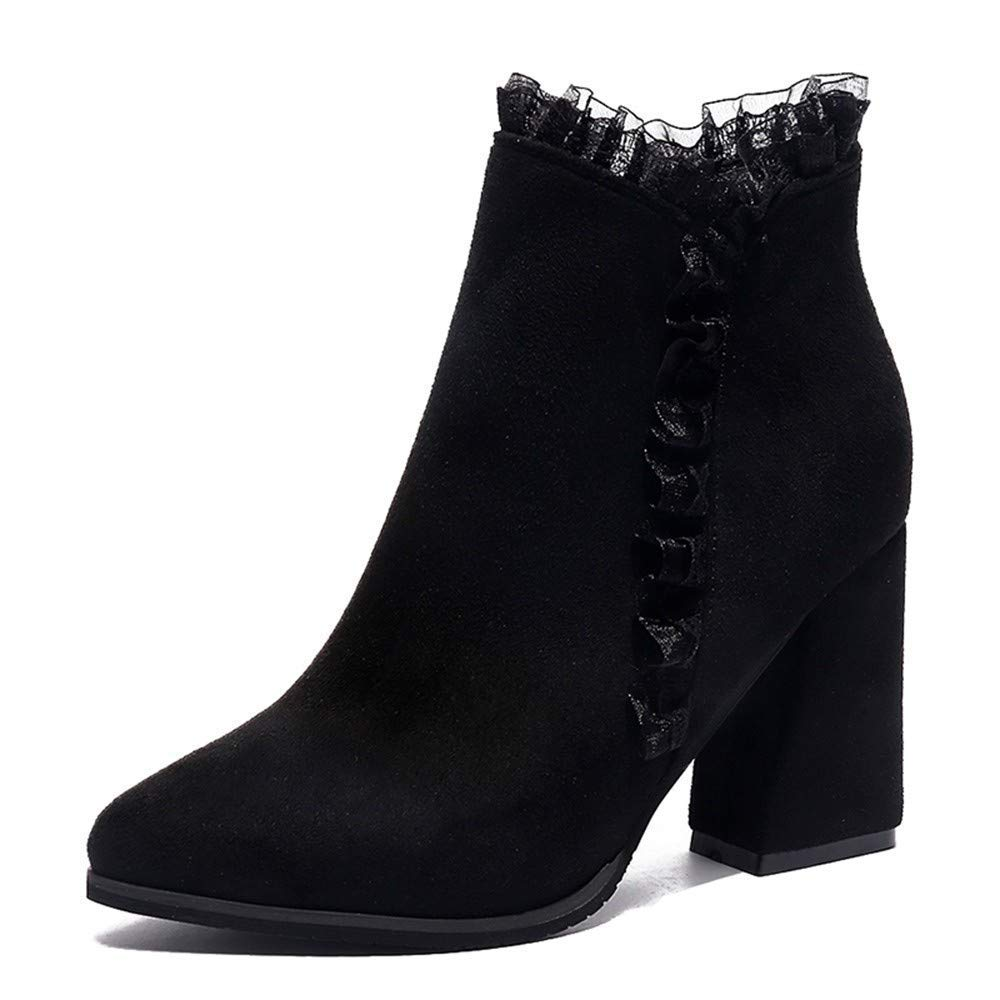 Oudan Stiefel Damen Schuhe Stiefeletten Mode Mode Mode Frauen Solide Dicke High Heel Spitze Flock Kurze Stiefel Reißverschluss Runde Kappe Schuhe (Farbe   Schwarz, Größe   39 EU) bb895c