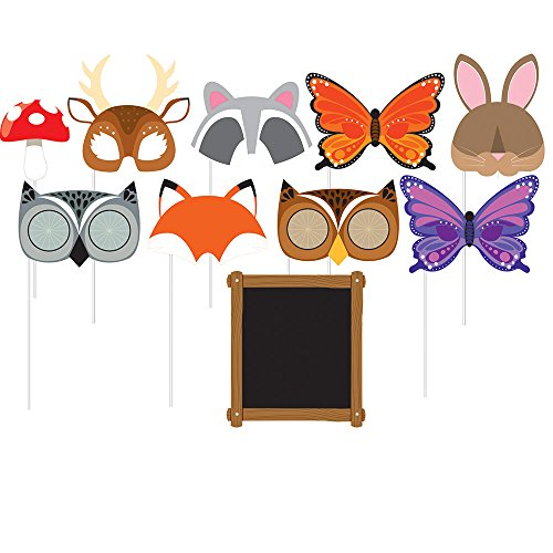 Creative Converting 324559 Assorted Photo Booth Forest Animals Party Props (10 Piece) ()