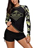 HOTAPEI Womens Long Sleeve Rash Guard Tops Swimwear Surfing Bathing Suit Rash Guard Swimsuit for Women Swim Shirt Black Printed Small