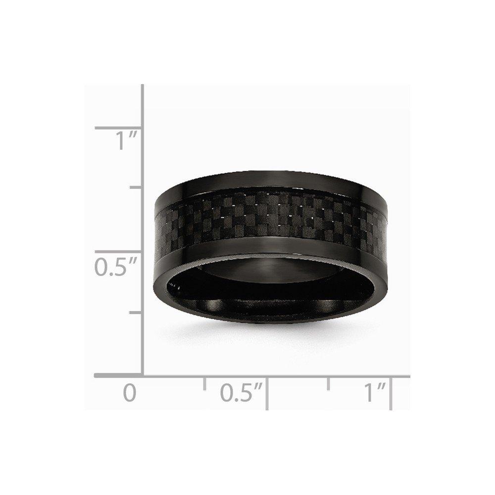 Brilliant Bijou Titanium 9mm Black IP-Plated w//Carbon Fiber Inlay Polished Band