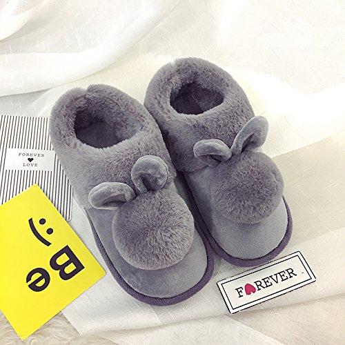 CWAIXXZZ pantofole morbide Pantofole di cotone femmina pacchetto completo con spessi inverno inverno bella calda felpa soggiorno pantofole princess ,37, sfera di peluche di cotone grigio scarpe