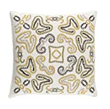 18''Eggshell White and Honey Yellow Woven Decorative Throw Pillow - Down Filler