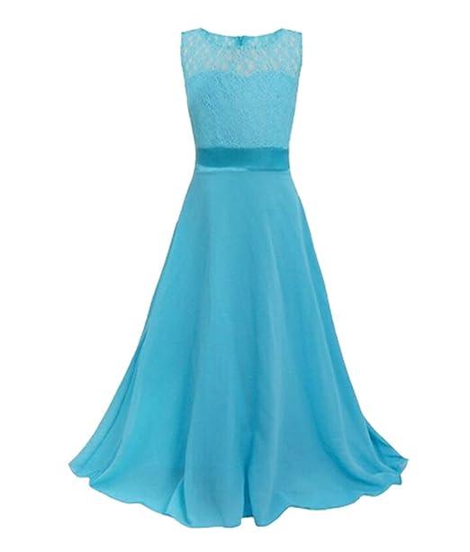 Girls Sleeveless Lace Dress Chiffon Gown Princess Dress Wedding ...