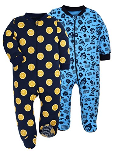 HONGLIN Baby Girls 2-Pack Footed Baby Pajamas Sleepers Rompers 100% Cotton with Non-Slipping Sole