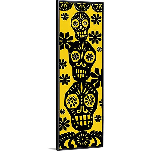 Luis Fitch Floating Frame Premium Canvas with Black Frame Wall Art Print Entitled Happy Skulls Papel picado 4 20