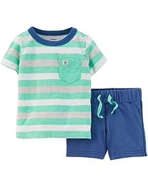 Carters Baby Boys Stripe Shorts Set 9 Month Mint