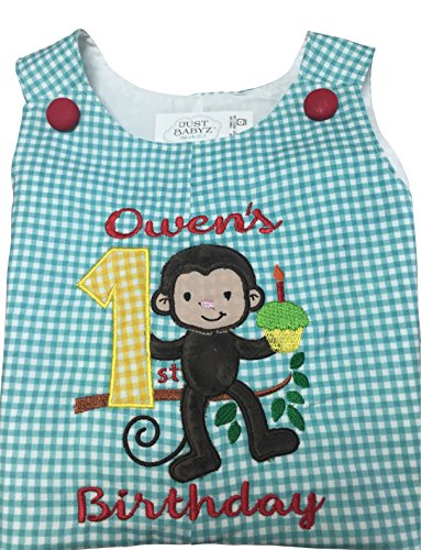 [Baby Boy First Birthday Outfit - Jungle Theme Monkey (18-24mos shortall)] (Jungle Outfit)