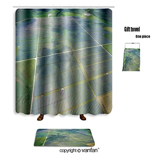 vanfan bath sets Polyester rugs shower curtain aerial view over solar panel farm outside shower curtains sets bathroom 72 x 72 inches&31.5 x 19.7 inches(Free 1 towel 12 hooks) by vanfan