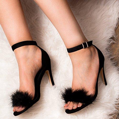 Mujer Gamuza Zapatos Salon Tacón Aguja Negro Lucy Hebilla Sintética De Spylovebuy 6xwqHA5TT