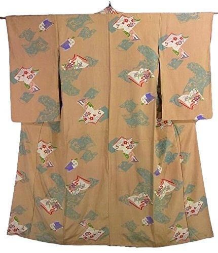 アンティーク 着物 和本に四季の花々や古典柄 正絹 袷 裄62cm 身丈149cm