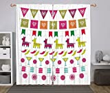 Polyester Window Drapes Kitchen Curtains,Fiesta,Latin American Motifs Flags Chili Peppers Cocktails Mexican Flag Color Party Pattern Decorative,Multicolor,Living Room Bedroom Kitchen Cafe Window Drape