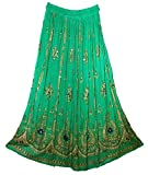RADHY KRISHNA FASHIONS Green Yoga Trendz Women's Sequined Crinkle Broomstick Gypsy Long Skirt