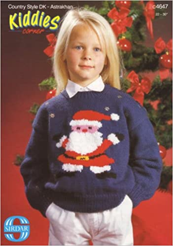 Sirdar Childrens Father Christmas Motif Sweater Knitting Pattern