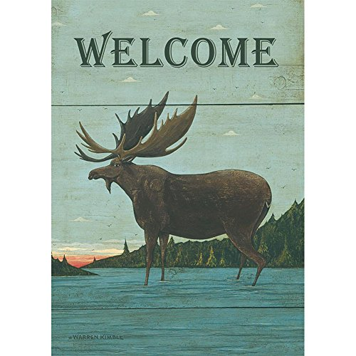 Lang - Large Garden Flag -Moose Lodge, Exclusive Artwork by Warren Kimble - All-Weather, Fade-Resistant Polyester - 28