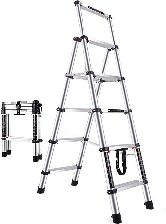 Escalera Telescópica MYL Profesional Ancho De 5 Pasos Telescópica Escalera, A-Frame Extensión De Escalera Telescópica De Peso Ligero De La Escala por Negocio En Casa, 330lbs Capacidad De Carga: Amazon.es: Hogar
