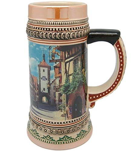 1 Liter Tankard Ceramic Beer Stein Mug Street Scene of Rothenburg ob der Tauber Germany Great German Gift or Beer Drinker Gift Idea