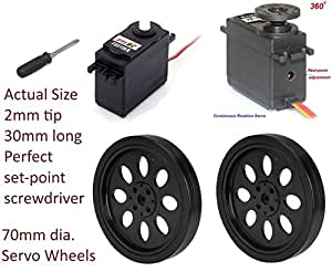 2 Pack FS5103R Continuous Rotation Servo 44.52oz Arduino with wheels, set-point driver