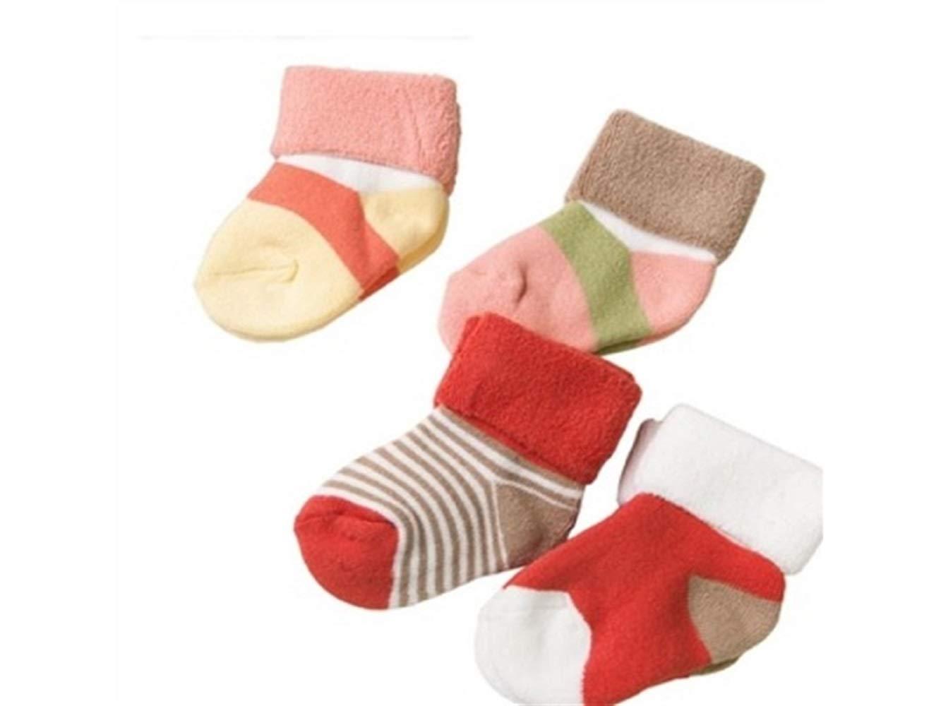 Gelaiken World Christmas 4 Pairs Children Cotton Socks Kids Autumn and Winter Cotton Loose Stripe Short Tube Socks(Multicolor)