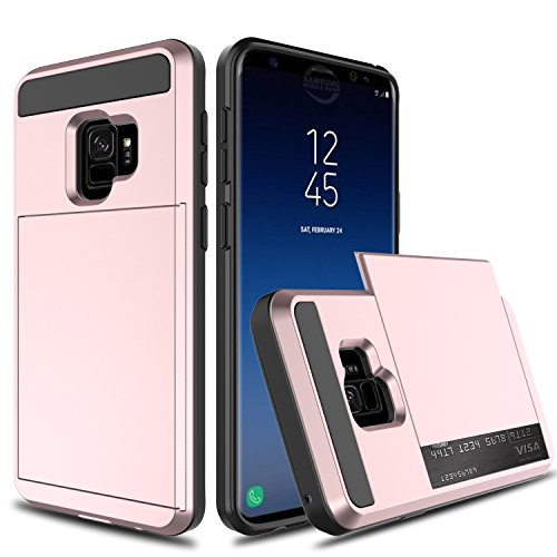 Galaxy S9 Case, Galaxy S9 Wallet Card Case, Venoro Slim Hybrid Dual Layer Shockproof with Wallet Design and Slide Card Slot Holder Protective Case Cover for Samsung Galaxy S9 / SM-G960U (Rose Gold)