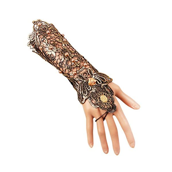 Charm.L Grace Gothic Black Lace Bracelet Steampunk Slave Wristband Ring Sexy Halloween Wedding Accessories 4