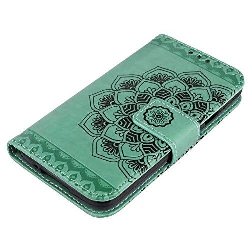 GR Para Samsung Galaxy S5 I9600 En relieve Half Flower DesignPU Cartera de cuero Flip Stand Case ( Color : Gray ) Green