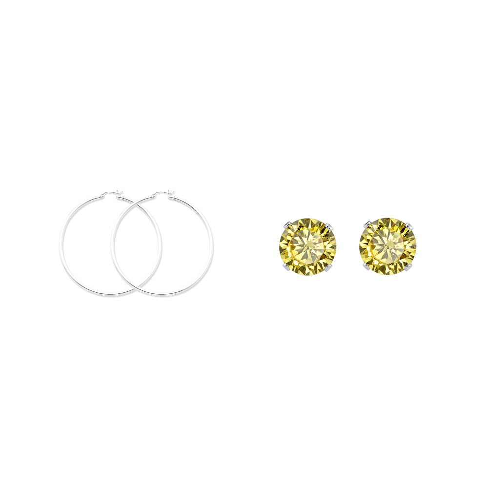 Sterling Silver 2.5mm Round Hoop Earrings and a pair of Yellow 4mm CZ Stud Earrings