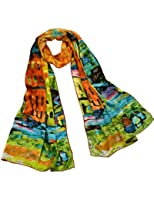 Dahlia Women's 100% Luxury Long Silk Scarf - Art Collection