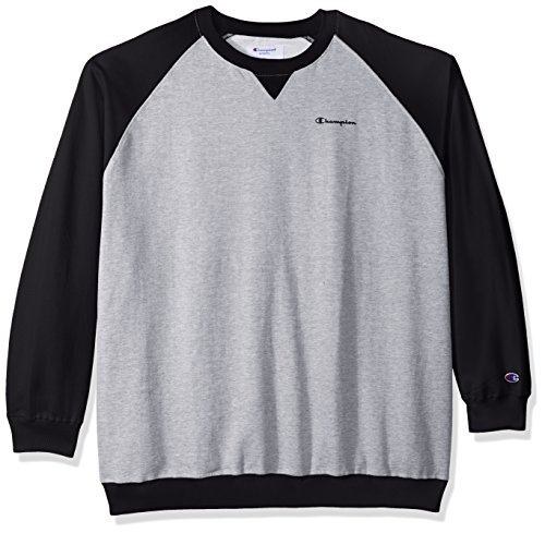 (Champion Men's Tall Fleece Ls Crew Raglan W/Contrast Sleeves, Oxford Heather/Black 3X)