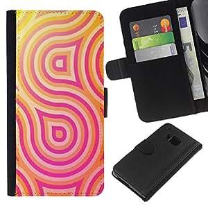 All Phone Most Case / Oferta Especial Cáscara Funda de cuero Monedero Cubierta de proteccion Caso / Wallet Case for HTC One M9 // Lines Psychedelic Happy Hip