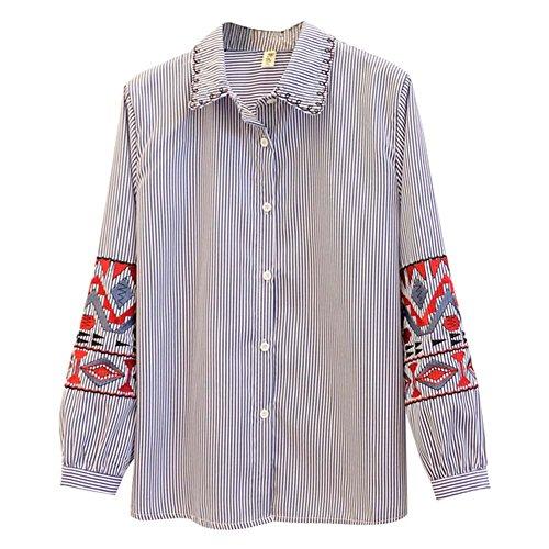 Spring Delicate blouse brodée Chemises en coton à manches longues pour les femmes, rayure verticale