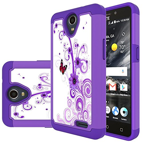 3/Overture 3/Prelude Plus Case, MicroP Hybrid Dual Layer Silicone Plastic Armor Defender Phone Case for ZTE N9136/Z835/Z851/ZTE Prelude+ (Armor Purple Flower) ()