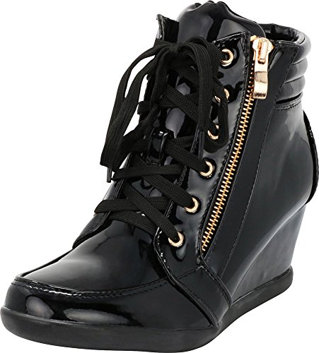 Cambridge Select Women's Lace-Up Zipper Wedge Heel Fashion Sneaker (9 B(M) US, Black Patent PU) ()