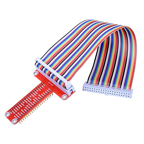 Kuman RPi GPIO Breakout Expansion Board + Ribbon Cable + Assembled T Type GPIO Adapter 20cm FC40 40pin Flat Ribbon Cable for Raspberry Pi 3 2 Model B & B+ SC05 ()