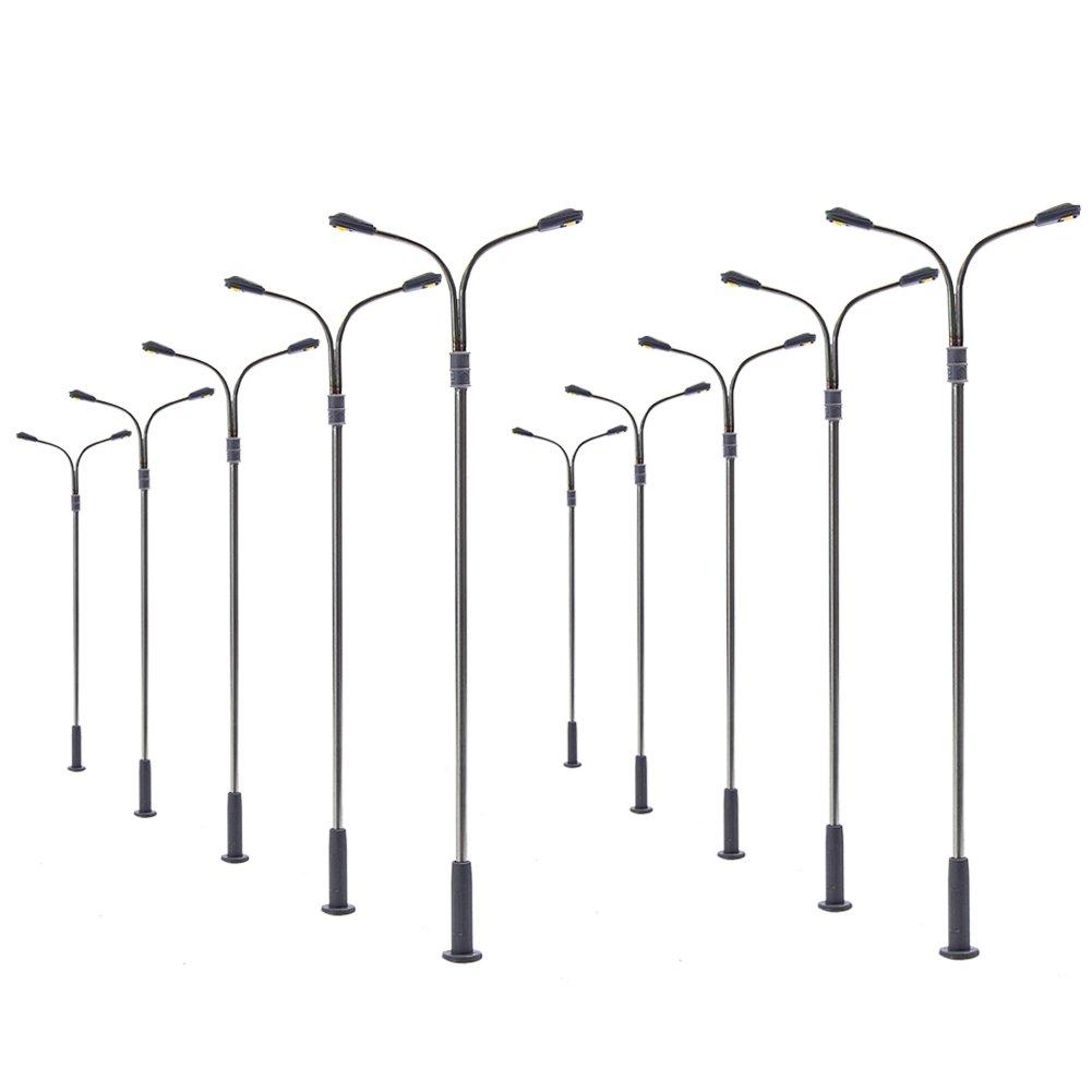 Evemodel LQS13W 10pcs Model Railway Train Lamp Post Street Lights HO OO TT Scale LEDs NEW
