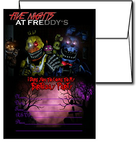 12 Five Nights at Freddy's Birthday Invitation Cards (12 White Envelops Included) #2 (Card Night Invitation)