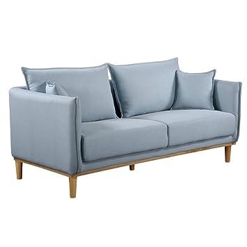 mlc canap 3 places style scandinave lizzano tissu tweed bleu - Canape Nordique