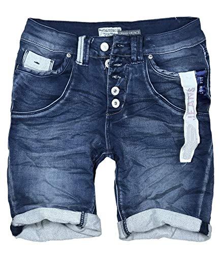 STS 15 Farben Damen Jeans Bermuda Short by Boyfriend Look tiefer Schritt Jeansbermuda mit Kontrastnähten washed