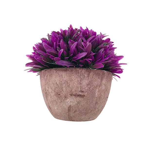 Vintage Semi-round Orchid Pulp Pot Artificial Plastic Plant Fake Bonsai (Pink)