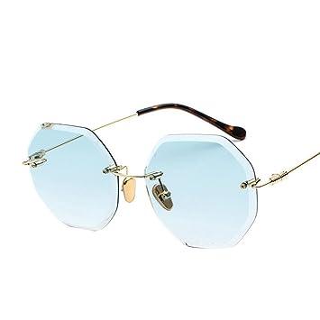 Aoligei Kein Frame gradient Ozean Sonnenbrille europäischen und amerikanischen big Frame Schatten Spiegel Mode Metall kleine Rahmen acht-seitige Sungl Esel 8SOstzEwDa